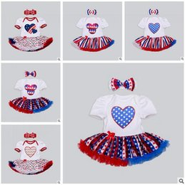 Wholesale July 4th Lace Romper - 4th of July Newborn Romper Headbands American Independence Day Festival Jumpsuits Girl Dresses Lace Jumpsuit Rompers New Baby Girls Clothes