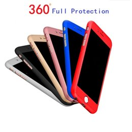 Wholesale Iphone Thin Metal Cover - Ultra-thin Hybrid 360 Degree Full Body Protective Case Cover with Tempered Glass Screen Protector for Apple iPhone 6 6S 7 Plus Phone Case
