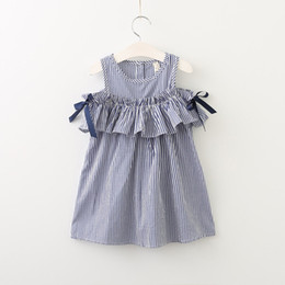 Wholesale Stripe Baby Girl Dress Bow - Everweekend Girls Stripes Ruffles Dress Off Shoulder Bow Dress Summer Sweet Casual Holiday Dresses Western Cute Baby Clothing