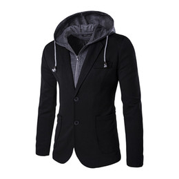 Wholesale Mens Hooded Blazer Jacket - Wholesale- 2016 Leave Two Design Mens Hooded Blazer Suit Jacket Men Blazer Coat Two Button Casual Slim Fit Black and Gray Blazer Masculino