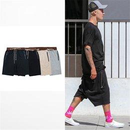Wholesale Khaki Shorts For Black Men - Wholesale-streetwear hip hop dance clothes stage for men black grey khaki navy short mens stretch cotton sweat jogger shorts