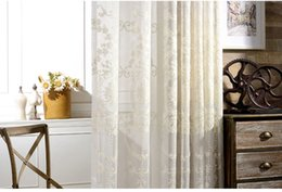 Wholesale Tulle Grommet Curtains - curtain with European style jacquard design home decoration modern tulle fabrics organza sheer panel window