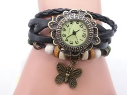 Wholesale Cow Leather Watches - wholesale Mix 7Colors Cow Leather women Watches Leather butterfly Charm Watches LP049
