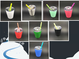 Wholesale Metal Straws Wholesale - Cheapest!!! 9oz tumbler wine glasses Vacuum Insulated mug Stainless Steel Lowball with lid with straw 9oz kid mug cup 10 color