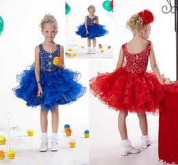 Wholesale Pageant Cup Cake Dresses - Lovely Royal Blue Pageant Dresses Cup Cake Hand Made Red Christmas Dresses Organza Short Pageant Gown Beaded Crystal HY1346