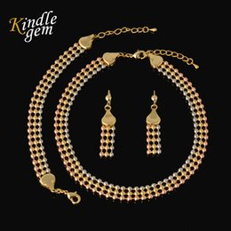 Wholesale Earring Three Color - New Statement Necklace Earrings Bracelet Set For Women High Quality Italy 750 Gold Color Jewelry Choker Three Color Beads