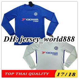 Wholesale Men Long Sleeve Tops - TOP QUALITY 17 18 Chelsea home soccer jersey Long sleeve HAZARD MORATA HAZARD PEDRO KANTE DIEGO COSTA WILLIAN DAVID LUIZ away football shirt