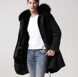 Wholesale Men S Rabbit Fur - 2018 Mr Mrs itlay black fur canvas long black jackets Mr Mrs furs rabbit fur winter parka