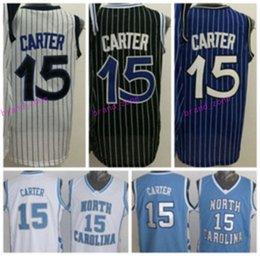 Wholesale North Shorts - 2017 Men 15 Vince Carter Jersey Throwback North Carolina Vince Carter College Shirts Uniforms Team Blue Black White Purple High Quality