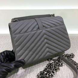 Wholesale Burgundy Cross Body Bag - High Quality Women's Medium 24CM Lampskin Leather Chevron Crossbody Bag Classic Style Vintage Chain Messenger Bag Hot Style Bag