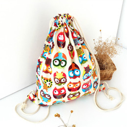 Wholesale Colorful Canvas Backpacks - Wholesale- Cute Owl Canvas Backpack Children Travelling Bags School Original Colorful Printed Cloth Bag Fashion Rucksack Beach Backpacks