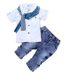 Wholesale Short Jeans For Kids - 2017 EuropeStyle Toddler Baby Boys Clothes Casual T-Shirt+Scarf+Jeans 3pc Baby Clothing Set Summer Child Kids Costume For Boys B4736
