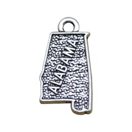 Wholesale alabama charms - High Quality Zinc Alloy Alabama Map Antique Silver Plated Charm For DIY Jewelry Wholesale Free Ship