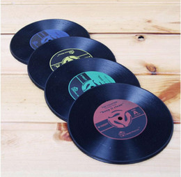 Wholesale Tea Coffe Cup Wholesale - Lowest Price!!! 200pcs Novelty Gift Drinks Retro CD Vinyl Record Coffe Tea Drinking Coasters Anti-Heat Cup Mat Hot Promotion W1128