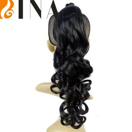 """Wholesale Synthetic Hairpiece Blonde - clip in hair extension 18"""" loose curled Claw Clip Drawstring Pony tail natural blonde Hairpieces 1pieces wholesale"""