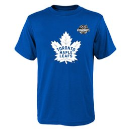 Wholesale Nhl Shirts - Fanatics Branded Toronto Maple Leafs Royal 34# MATTHEWS 2017 NHL Centennial Season 100 years logo T-Shirt