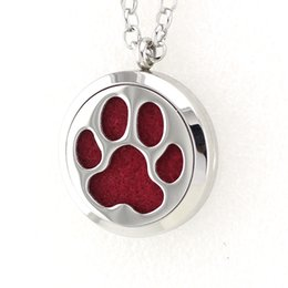 Wholesale Red Paw Print - 5PCS 30MM Dog Paw Prints Essential Oil Diffuser Perfume Locket Necklace Pendant 2017 Necklace Pendant With Free Pads