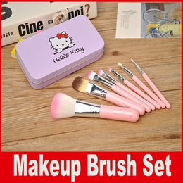 Wholesale Wholesale Mini Sweet Box - Hello Kitty Sweet pink 7 Pcs Mini Makeup brush Set cosmetics kit de pinceis de maquiagem make up brush Kit with Metal box