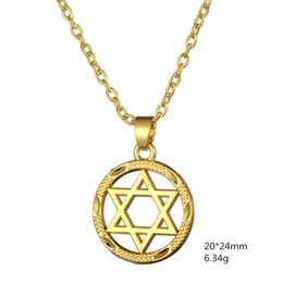 Wholesale Two Tone Plated Gold Chain - Fashion Classical Jewelry Gold Plate Two Tone Circle Round Silver Pentagram Star Of David Pendant Necklace Star of Star Of David Free Ship