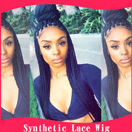 Wholesale Premium Lace Front - New hot Premium synthetic braided lace front wigs Heat resistant fashion micro braided wigs for Black women free shipping 1b# 1#