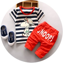 Wholesale Dog Piece - 2017 New Arriva 1 2 3 years old baby clothing set with little dog printed fashion boys clothes vest suit cotton material o-neck