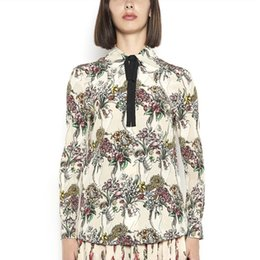 Wholesale Ladies Printed Collar Shirt - High Quality Brand Designer Women Office Shirts 2017 Autumn Elegant Lady Bow Tie Turn Down Collar Floral Print Long Sleeve Blouse