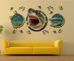 decalque tubarão Desconto Frete grátis: 60 * 90 cm 3D shark seascape PVC Decalque Da Parede / adesivo e removível dos desenhos animados adesivos de parede papel de parede mural art home decor acessório
