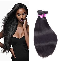Wholesale Black Hair Weave Hairstyles - Ushine Chinese Brazilian Peruvian Straight Human hair Natural Black 100% unprocessed 3-5 Bundles can be make all kinds of hairstyles