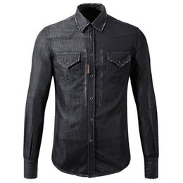 Wholesale Vintage Cowboys - Black Denim Shirt Cool Guy Slim Fit Longsleeves Washed Vintage Solid Color Cowboy Shirts Man