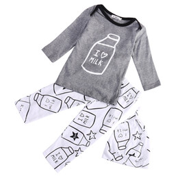 Wholesale Top Fashion Outfits For Kids - Wholesale- 2016 Fashion 3pcs Toddler Baby Kids Boy Girl Milk Bottle Printed Tops Pants Hat Cap Outfits Cute Clothing Sets for Children