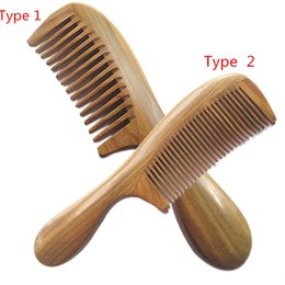 Wholesale Natural Handicrafts - Wholesale- Handicraft Wooden Round Handle Sandal Hair Combs Natural Sandalwood Fine Comb Anti-Static Care
