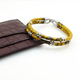 Wholesale Dropship Best - Luxury Bracelets Python Skin Leather Bracelet for Women Man Best Friends Gift pulseira wholesale dropship