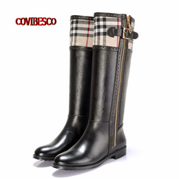 Wholesale Knee High Buckle Boots - Wholesale-2016 Brand Design New Fashion Women Knee High Boots Round Toe PU + Genuine Leather Boots for Ladies Motorcycle Boots