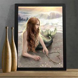 Wholesale Girl 3d Painting - Meian,Full,Diamond Embroidery,Mermaid,Girl,5D,Diamond Painting,Cross Stitch,3D,Diamond Mosaic,Needlework,Crafts,Christmas,Gift