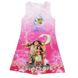 Wholesale Cartoon Children Vest - DHL Cartoon Print Girl Dress Moana Vest Princess Fashion New Children 2017 Summer Cartoon Sleeveless Vest Dresses Kids Clothes 2-8 Years