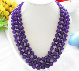 "Wholesale Coral Beads Necklace Rows - Charm Fashion3 Rows 8mm Round Purple Natural Jade Beads Necklace 18-20""AAA"