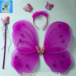 Wholesale Wholesale Fairy Wings For Girls - Wholesale- HOT Butterfly Wings Halloween Party Children Performing Props Butterfly Wings Three-Piece Suit Cosplay For Fairy Girl Kid