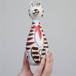 Wholesale Doll For Paint - Handmade Nesting Cats Painted Wooden Nesting Dolls Matryoshka Toys Different Size 25Sets(1Set=5PCS) Halloween Christmas Gifts for Kids Child