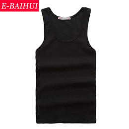 Wholesale Lycra Vests For Men - Wholesale- E-BAIHUI 2016 new Summer Bodybuilding Fitness Tank Top For cotton Undershirt Fashion Vest Clothing For Men 6 Colors 22151