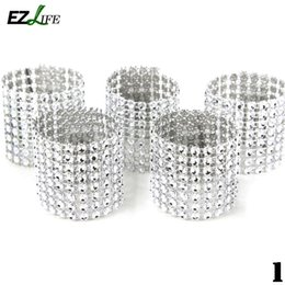 Wholesale Golden Napkins - Wholesale- EZLIFE 8 Rows Rhinestone Napkin Rings for Table Wedding Decoration Napkin Rings Holder Silver&Golden Napkin Rings KT1011