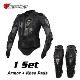 Wholesale Elbow Armor - Outdoor Sports Safety Motorcycle Riding Body Armor Jacket + Knee Pads Set Motorcross Off-Road Racing Elbow Chest Protectors Protective Gear
