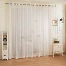 Wholesale Drapes For Windows - Free Shipping White Striped Design Window Gauze Sheer Curtains For Living Room Balcony Drapes voile tulle curtain for window fabric