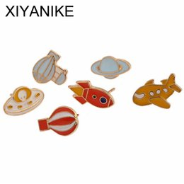 Wholesale Airplane Clothes - Wholesale- Fashion Cartoon Cute Hot Air balloon Rocket Airplane 5Metal Oil Drop Brooch Pin Badge Clothing Accessories Women Gift VHS9308