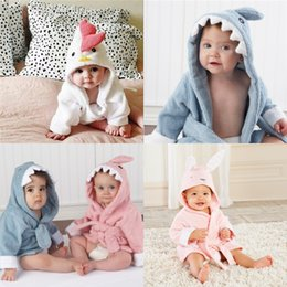 Wholesale Soft Warm Clothes - Baby Bathrobe Charactor Soft Warm Baby Boys Girls Kids Bathrobe Bath Towel Cartoon Animal Hooded Sleepwear Pajamas Clothing Wholesale 856