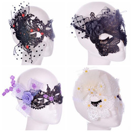 Wholesale Sexy Cartoon Girls - 4 Designs Halloween Sexy Flowers Lace Party Masks Girls Women Masquerade Mask Venetian Half Face Mask Christmas Party Mask CCA6886 100pcs