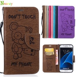 Wholesale Cartoon Leather Cover Case - Samsung Galaxy S7 G930F Case, Cartoon Wallet Case Retro PU Leather Flip Bracket Shockproof Protective Cover