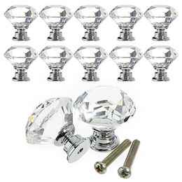Wholesale Handle Cabinet Kitchen - 30mm Clear Crystal Glass Knob Shiny Polished Chrome Marrywindix Drawer Cabinet Pull Handle Knob For Home Kitchen Drawer 8E