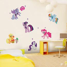 Wholesale Kindergarten Wall Art - pvc fashion Creative DIY wall sticker for child room Carved Removable cute Pony kindergarten Decorating art Sticker Decor 2017 Wholesale