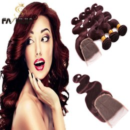 Wholesale Cheapest Brazilian Virgin Hair - Cheapest Burgundy Red Human Hair Extension with closure Beauty Hair Brazilian Virgin Hair 3 Bundles 99J Brazilian Body Wave