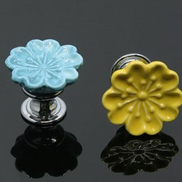 Wholesale Ceramic Dresser Drawer Knobs - Ceramic Colorful Flower Handles European Style Unique Kitchen Door Handle Knob Drawer Dresser Handle Pulls 7 Colors